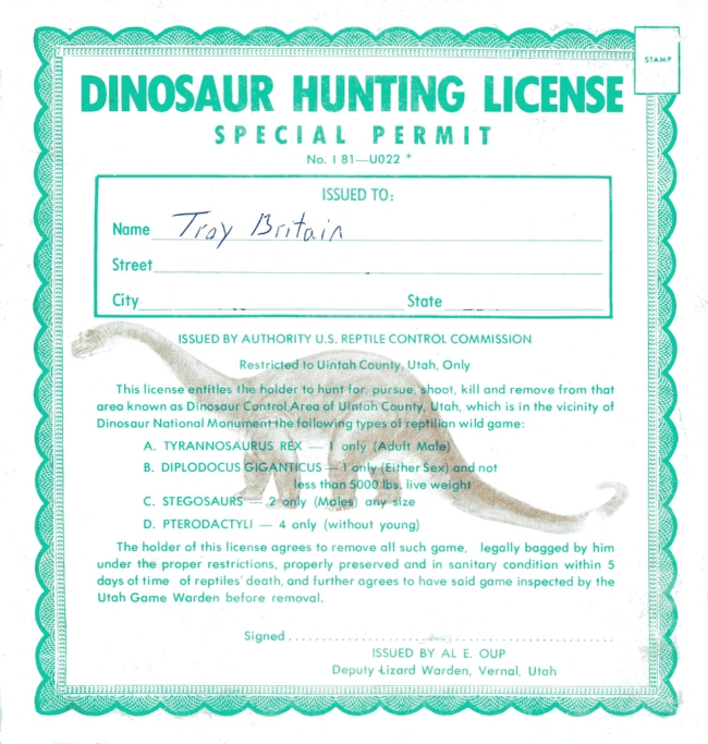 dinosaur hunting license playing chess with pigeons