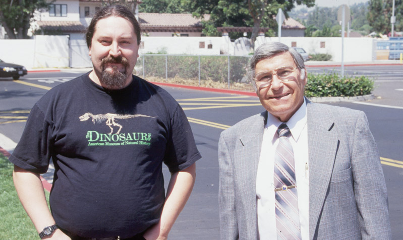 Yours truly with Dr. Gish at the Southern California Center for Christian Studies 1998 Summer Conference (August) (Photo by Don Frack)