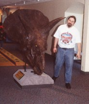 A Triceratops skull and myself at The Academy of Natural Sciences, in Philadelphia, PA (photo by Jon Wolff).